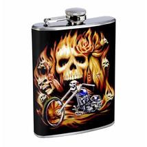 Flask 8oz Stainless Steel Skull D 14 Skulls on Fire Bike Biker Whiskey - $12.82