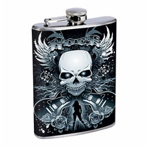 Flask 8oz Stainless Steel Skull D 3 Wings Drinking Hip Flask Whiskey - $12.82
