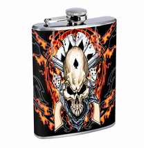 Flask 8oz Stainless Steel Skull D 11 Outlaw Gambler Flames Whiskey - $12.82