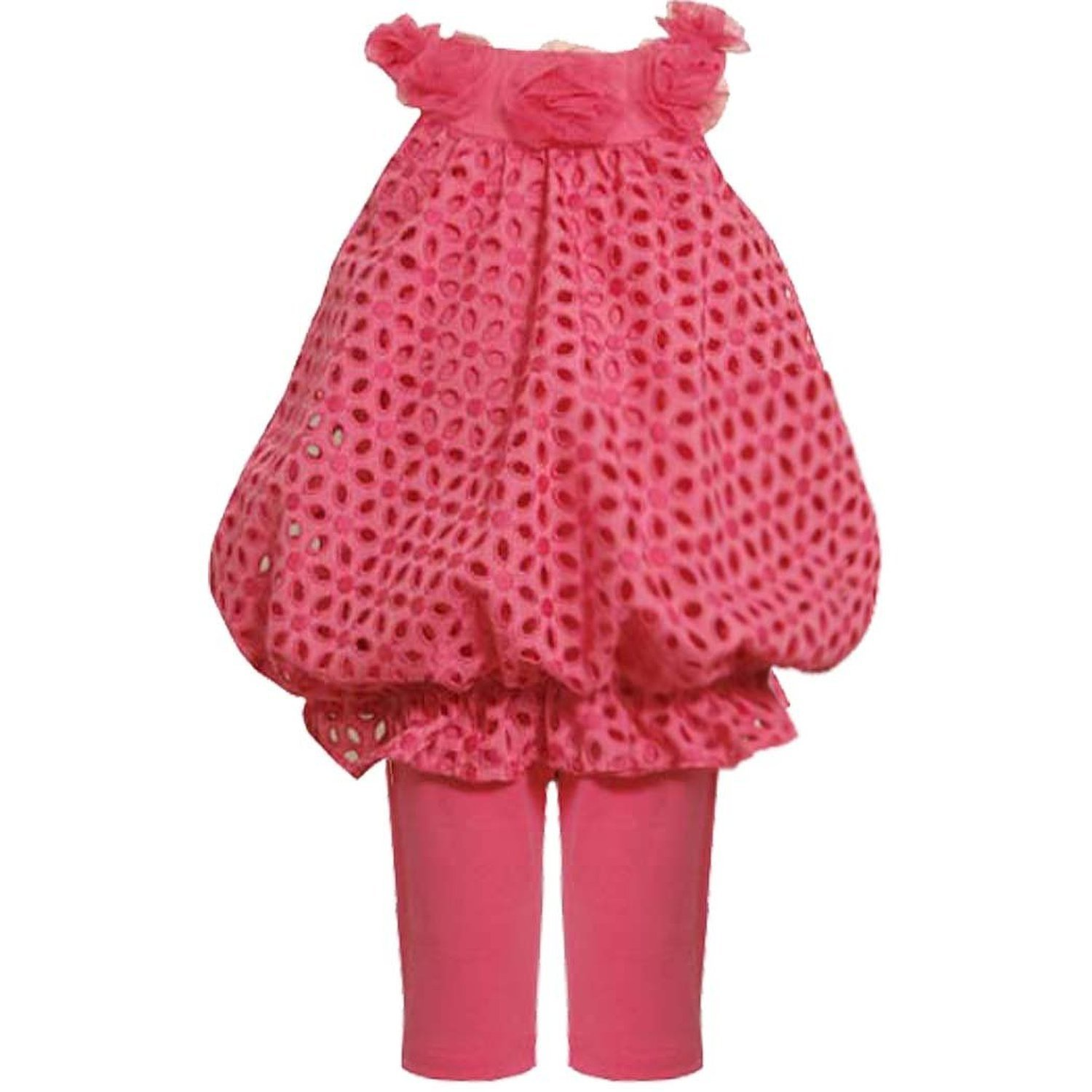Bonnie Jean Little Girls 2T-6X Eyelet Bubble Top To Knit Capri Dress/Pants Set