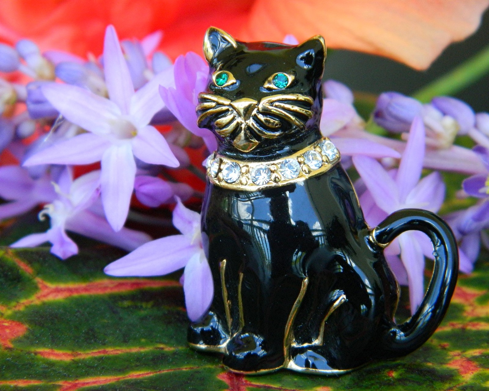Vintage Monet Black Cat Brooch Pin Enamel Rhinestones Collar Figural