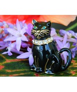Vintage Monet Black Cat Brooch Pin Enamel Rhine... - $16.95