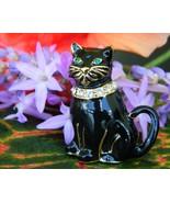 Vintage Monet Black Cat Brooch Pin Enamel Rhinestones Collar Figural - $16.95