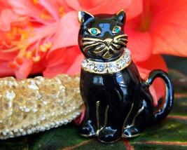 Vintage Monet Black Cat Brooch Pin Enamel Rhinestones Collar Figural image 2