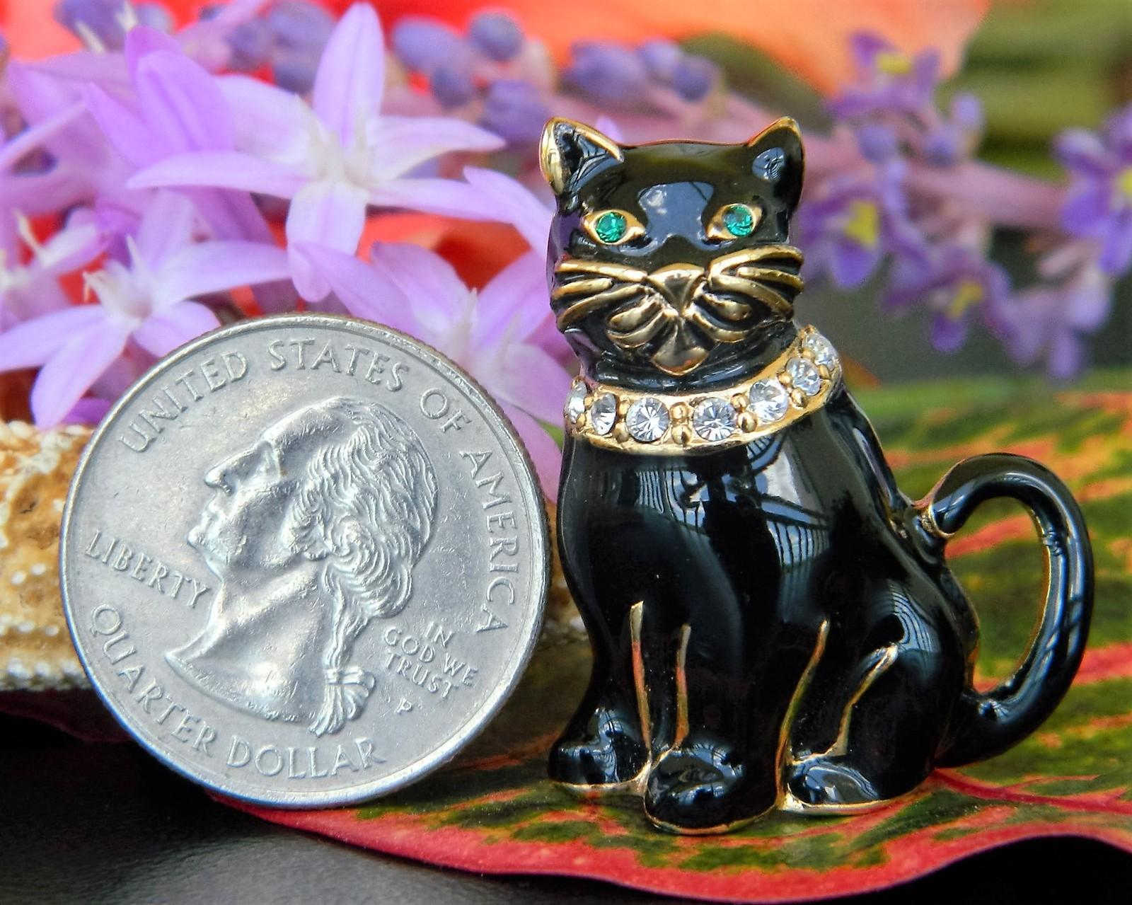 Vintage Monet Black Cat Brooch Pin Enamel Rhinestones Collar Figural image 3