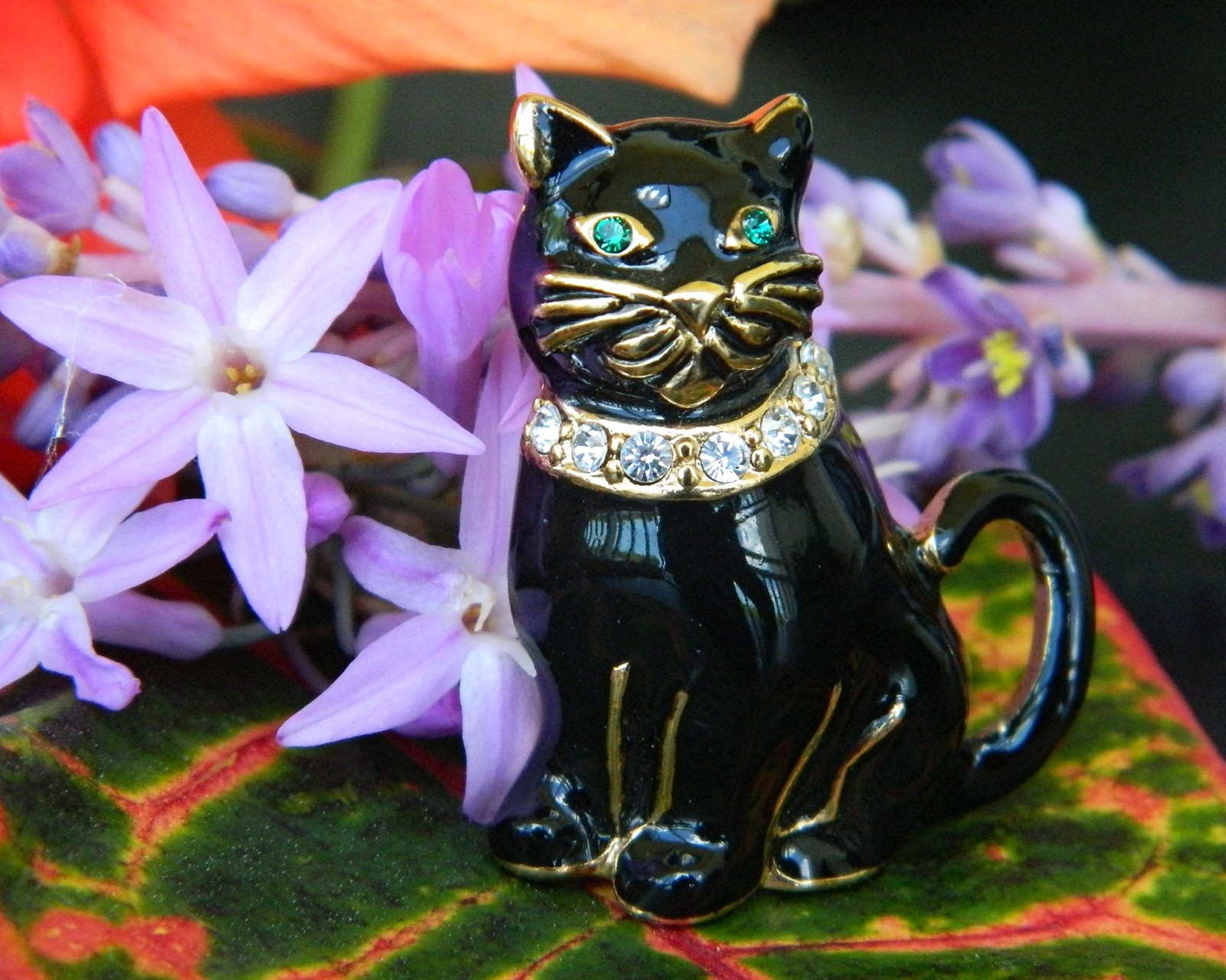Vintage Monet Black Cat Brooch Pin Enamel Rhinestones Collar Figural image 5
