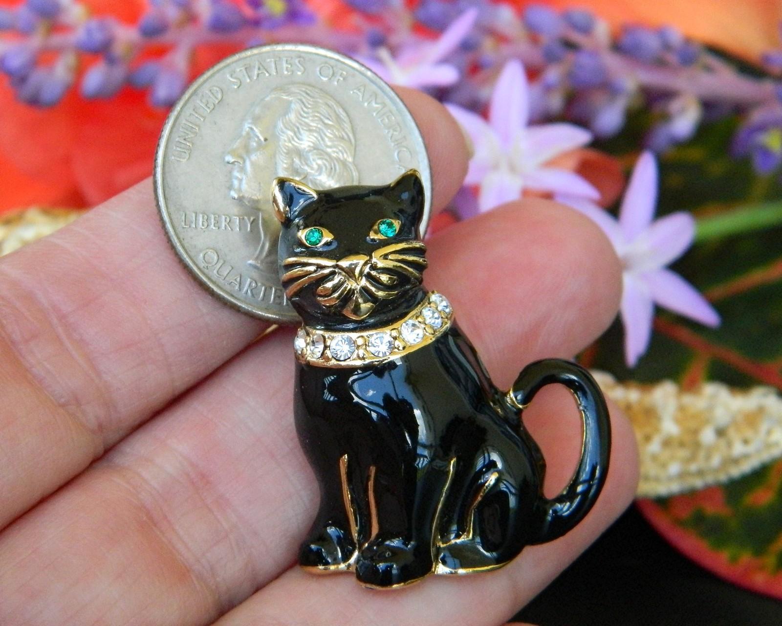 Vintage Monet Black Cat Brooch Pin Enamel Rhinestones Collar Figural image 6