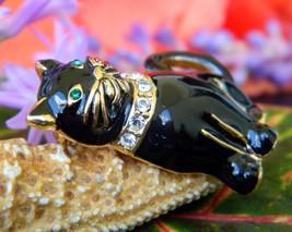 Vintage Monet Black Cat Brooch Pin Enamel Rhinestones Collar Figural image 9