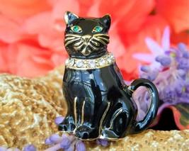 Vintage Monet Black Cat Brooch Pin Enamel Rhinestones Collar Figural image 10