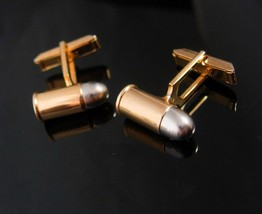 Novelty Cufflinks VAMPIRE Verses WEREWOLF Faux bullet Silver Tipped Vint... - $95.00