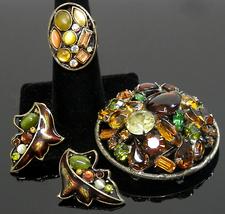 Vintage Earrings Brooch & Ring Set Autumn Colors Demi Parure - $20.00