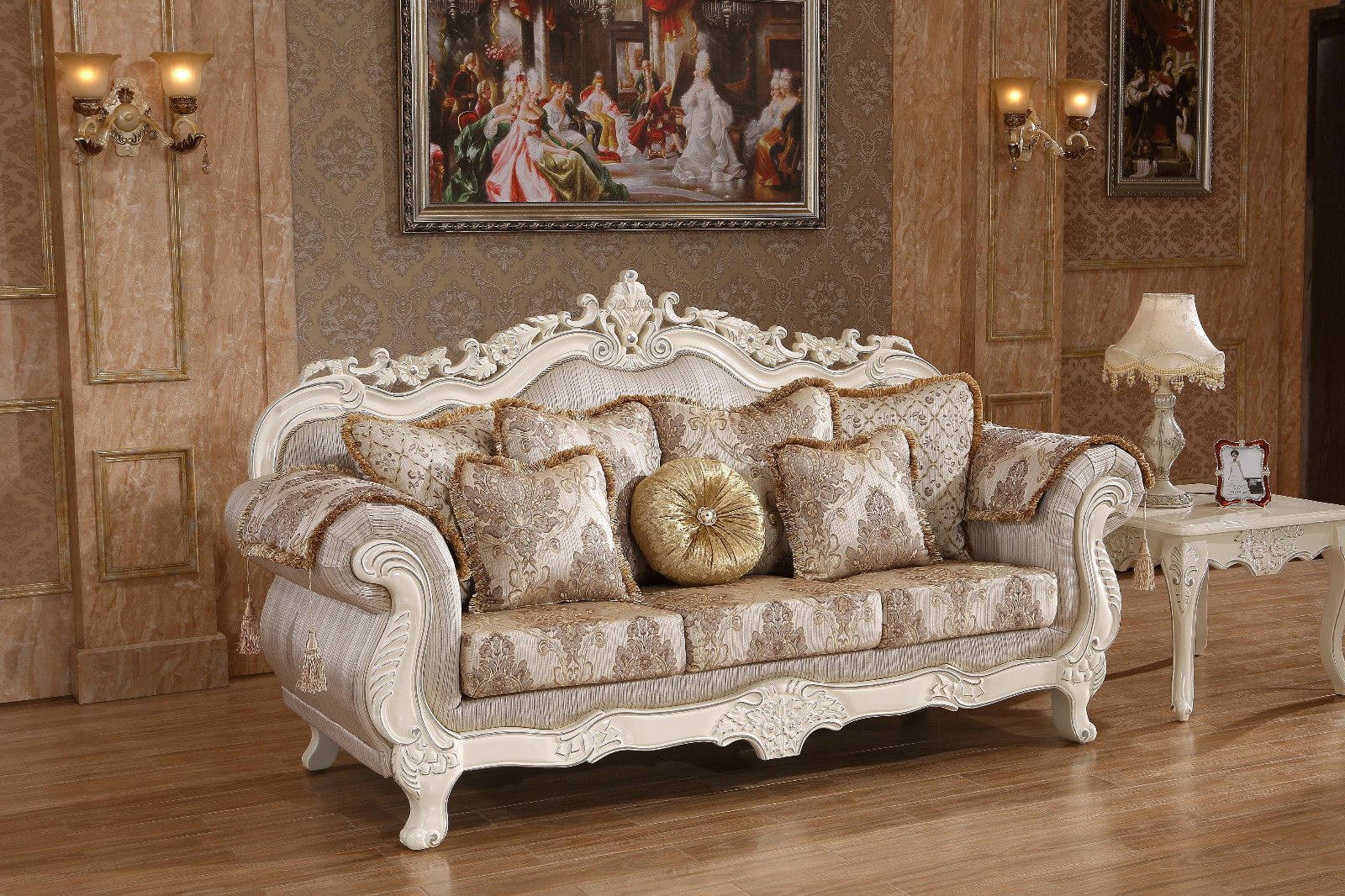 Meridian 691 Living Room Sofa Set 3pc. Upholstery Pearl White Traditional Style