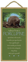 "5"" x 10"" ADVICE FROM A PORCUPINE WOOD PLAQUE Inspirational Sign Novelty ... - €9,90 EUR"