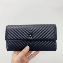 AUTH CHANEL SUPER TRARE SO BLACK QUILTED  CHEVRON FLAP TRI-FOLD CLUTCH WALLET  image 5