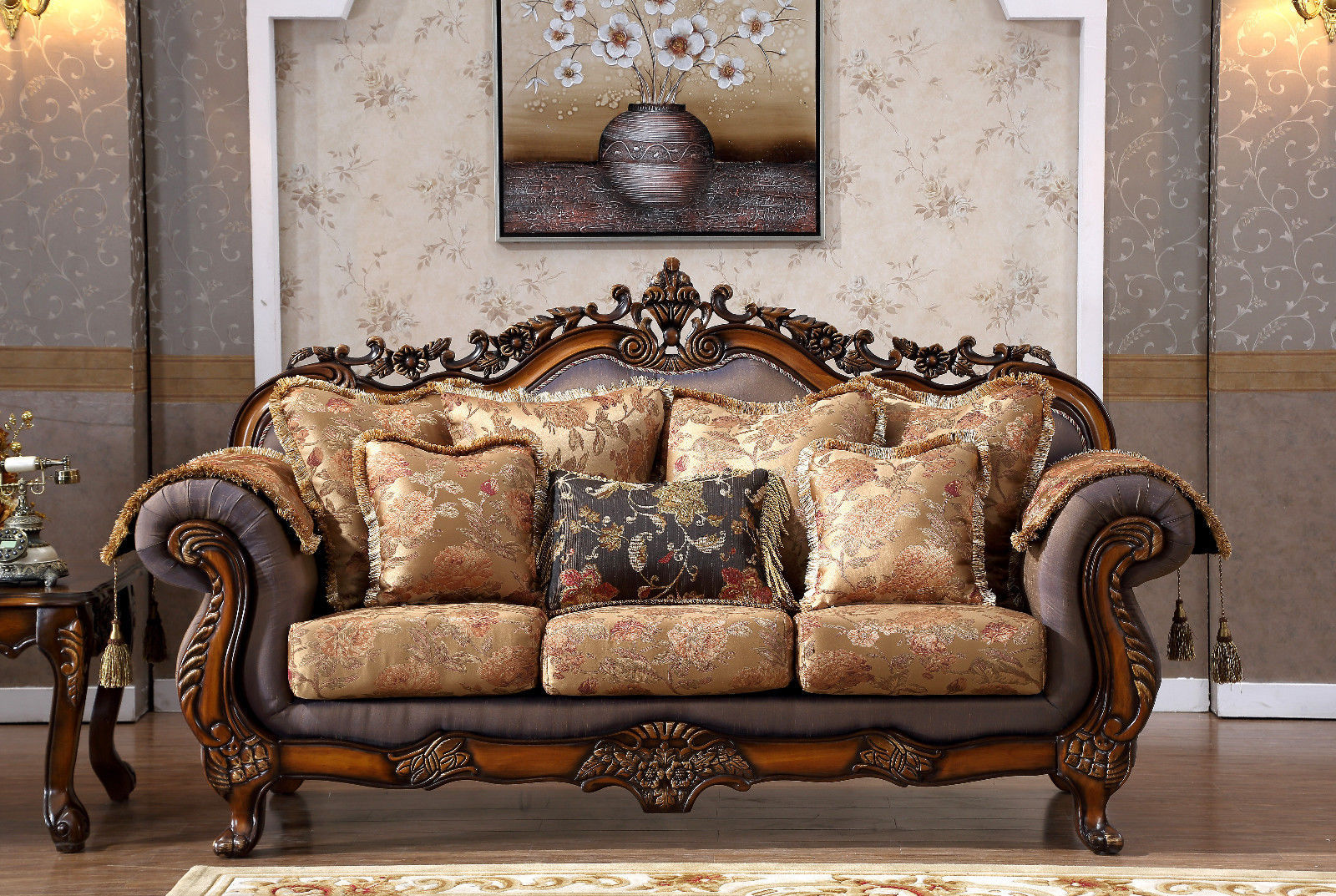 Meridian 693 Cherry Fabric Living Room Sofa Set 2pc. Traditional Style