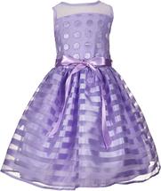 Us Angels Little Girls 2T-6X Lavender Purple Dots Stripes Organza Social Dress