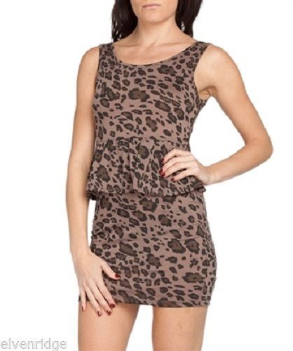 Brown Cheetah style  Animal Women's Peplum Poly Spandex Chesley label