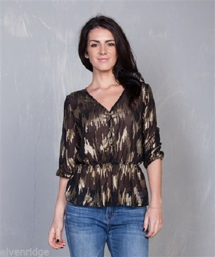 EYE-CATCHING GOLD WASH Metallic print BLACK BLOUSE Tea and Rose label
