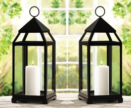 "Black Wedding Candle Lantern 17 1/2"" tall (Set of Two) Event Supply 13347 - $53.00"