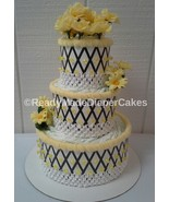 Bumble Bee Themed Baby Girl Shower 3 Tier Black and Yellow Diaper Cake Gift - $40.00