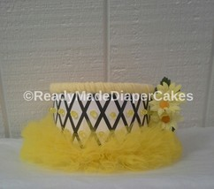 Black and Yellow Bumble Bee Tutu Themed Baby Girl Shower 1 Tier Diaper C... - $19.99
