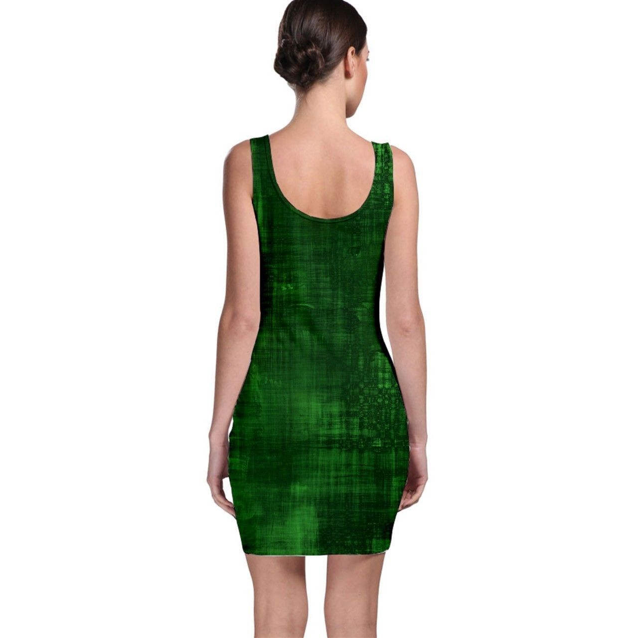 Sexy Green Paint Lines Tight Fitted Bodycon Dresses - Size & Sleeve Options