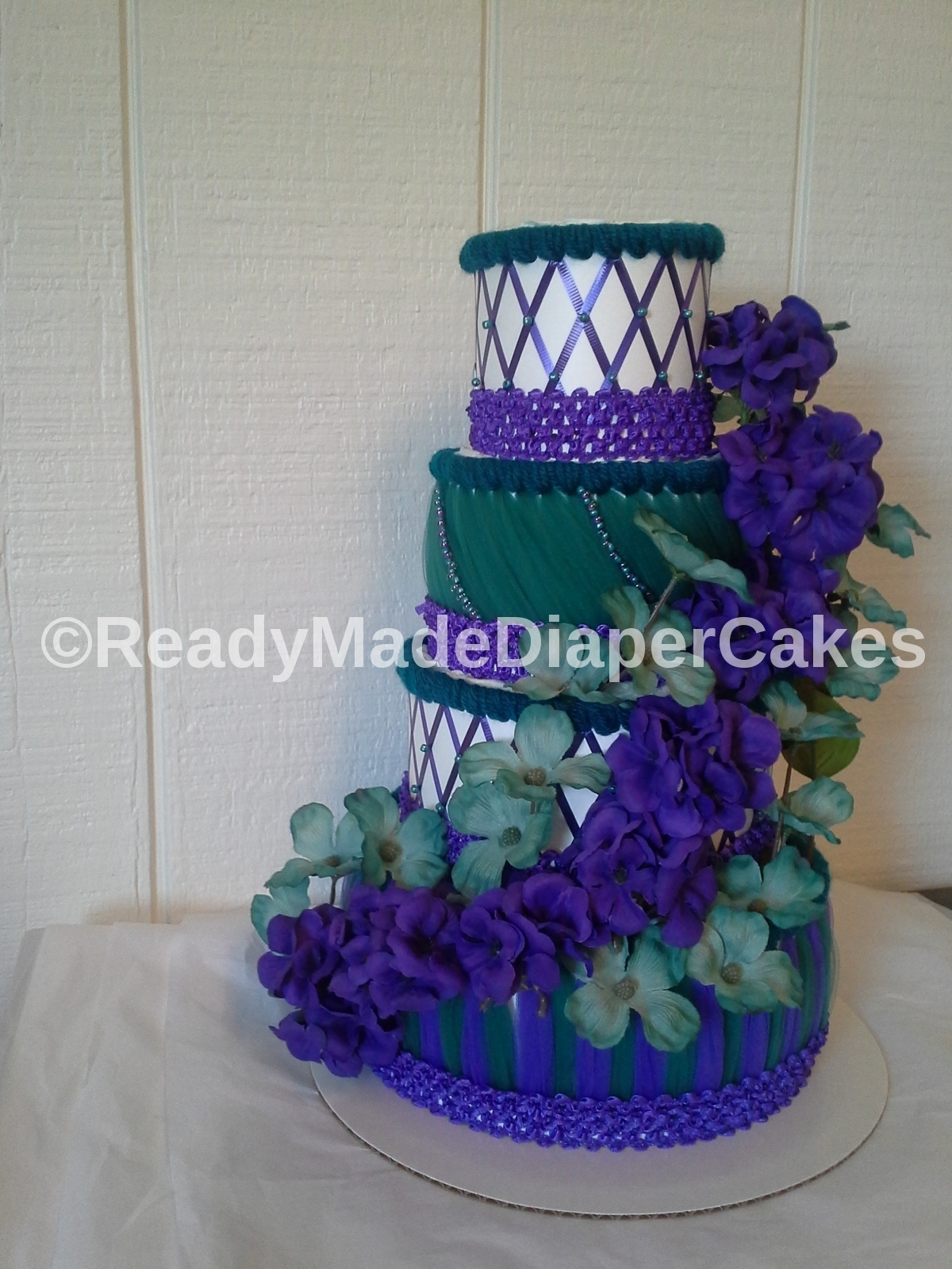 teal and purple elegant themed baby girl shower decor 4 tier beaded