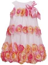 Bonnie Jean Little Girls 2T-6X Coral Pink Bonaz Rosette Bubble Hem Social Dress