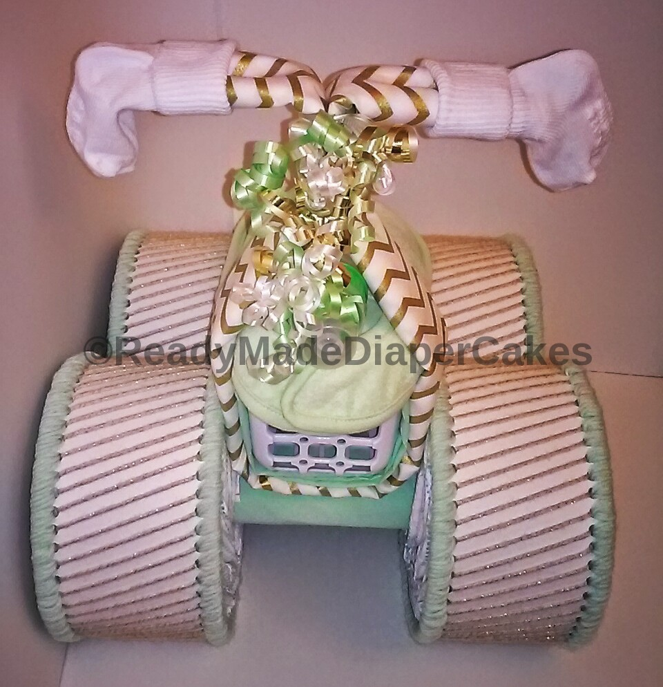 White Mint Green Gold Themed Baby Shower Decor Four Wheeler Diaper Cake Decor - Diaper Cakes