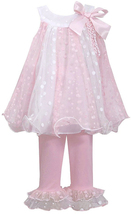 Bonnie Jean Little Girls Pink Ivory Colorblock Mesh Trapeze Dress/Legging Set