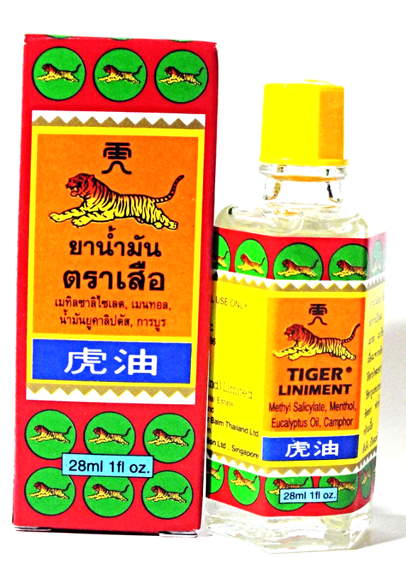 Primary image for TIGER LINIMENT RELIEF MUSCLE ACHE & PAIN GIDDINESS INSECT BITE HEADACHE 1FL OZ.