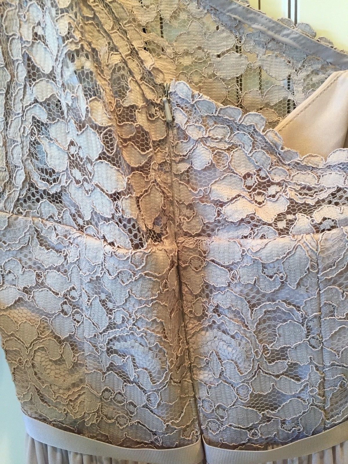 Women's Davids Bridal Biscotti Tan One Shoulder Lace Bridesmaid Dress Sz 2 w/Tag