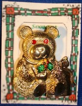 Christmas PIN #0266 VTG Gerrys Bear Goldtone w/Red Crystal/Rhinestone Ey... - $19.75