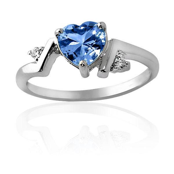 1.86CT Aquamarine Unique Heart Design Ring 14K White Gold Covered