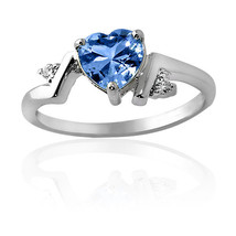 1.86CT Aquamarine Unique Heart Design Ring 14K White Gold Covered - $69.28