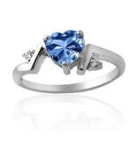 1.86CT Aquamarine Unique Heart Design Ring 14K White Gold Covered - $69.28