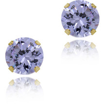 1.50CT Round Lavender Stud Earrings In Solid 14K Yellow Gold - $46.52