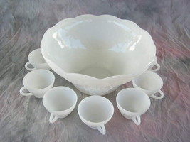 MILK GLASS PUNCH BOWL INCLUDING 10 CUPS - VINTAGE GRAPE PATTERN - (SKU#1... - $59.49
