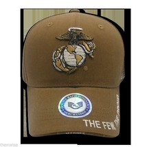 MARINE CORPS THE FEW THE PROUD BEIGE EGA LOGO MILITARY HAT CAP - $34.64