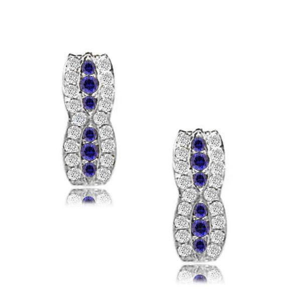 14k White Gold 12 Month Birthstone Fancy Leverback Earrings
