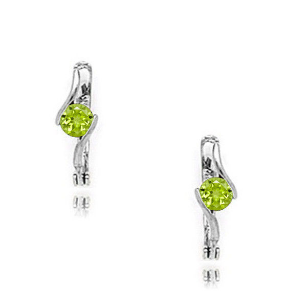 14k White Gold 12 Month Birthstone Round Emerald Sapphire Leverback Earrings