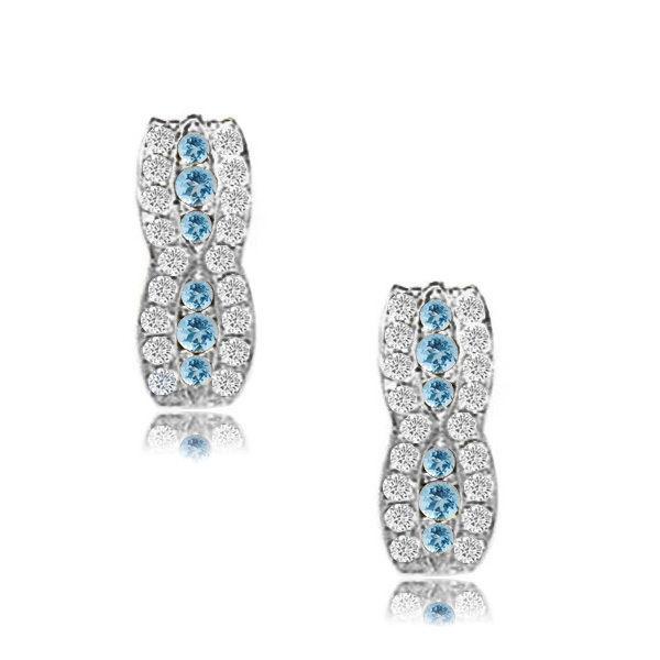 14k White Gold Birthstone Fancy Leverback Earrings 12 Month Gemstone Item# L23-