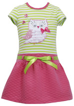 Bonnie Jean Little Girls 2T-6X Pink Green Striped Knit Quilted Skirt Owl Dress