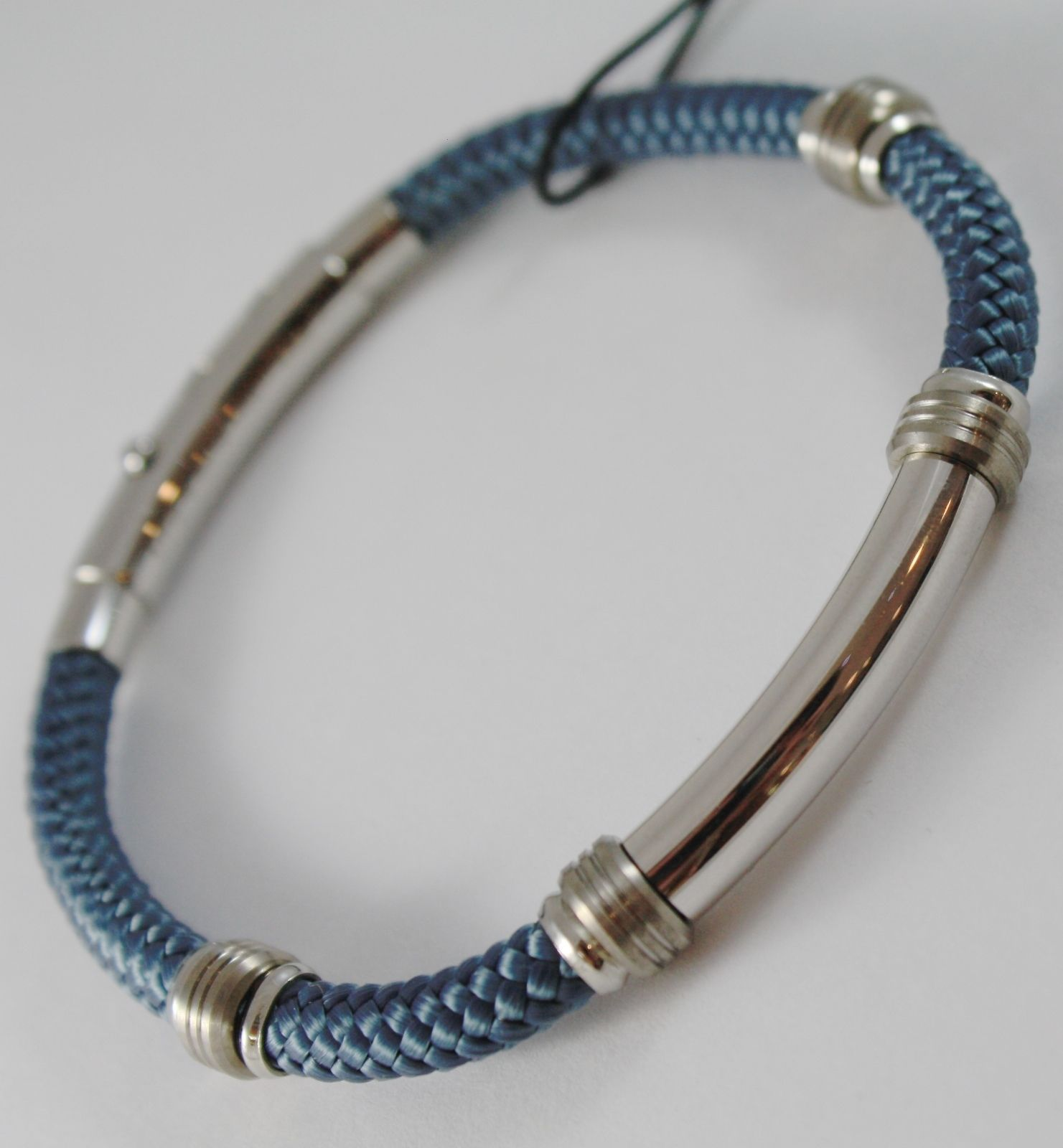 925 SILVER ZANCAN BRACELET BIG NAUTICAL PETROL BLUE ROPE & PLATE MADE IN ITALY