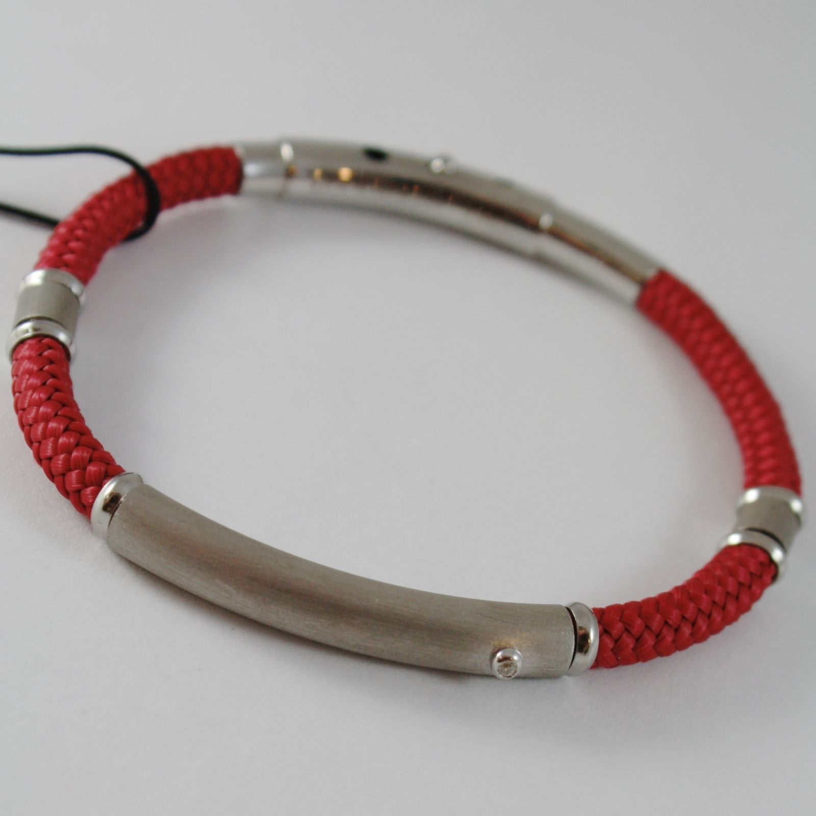 925 SILVER ZANCAN BRACELET BIG NAUTICAL RED ROPE & SATIN PLATE MADE IN ITALY