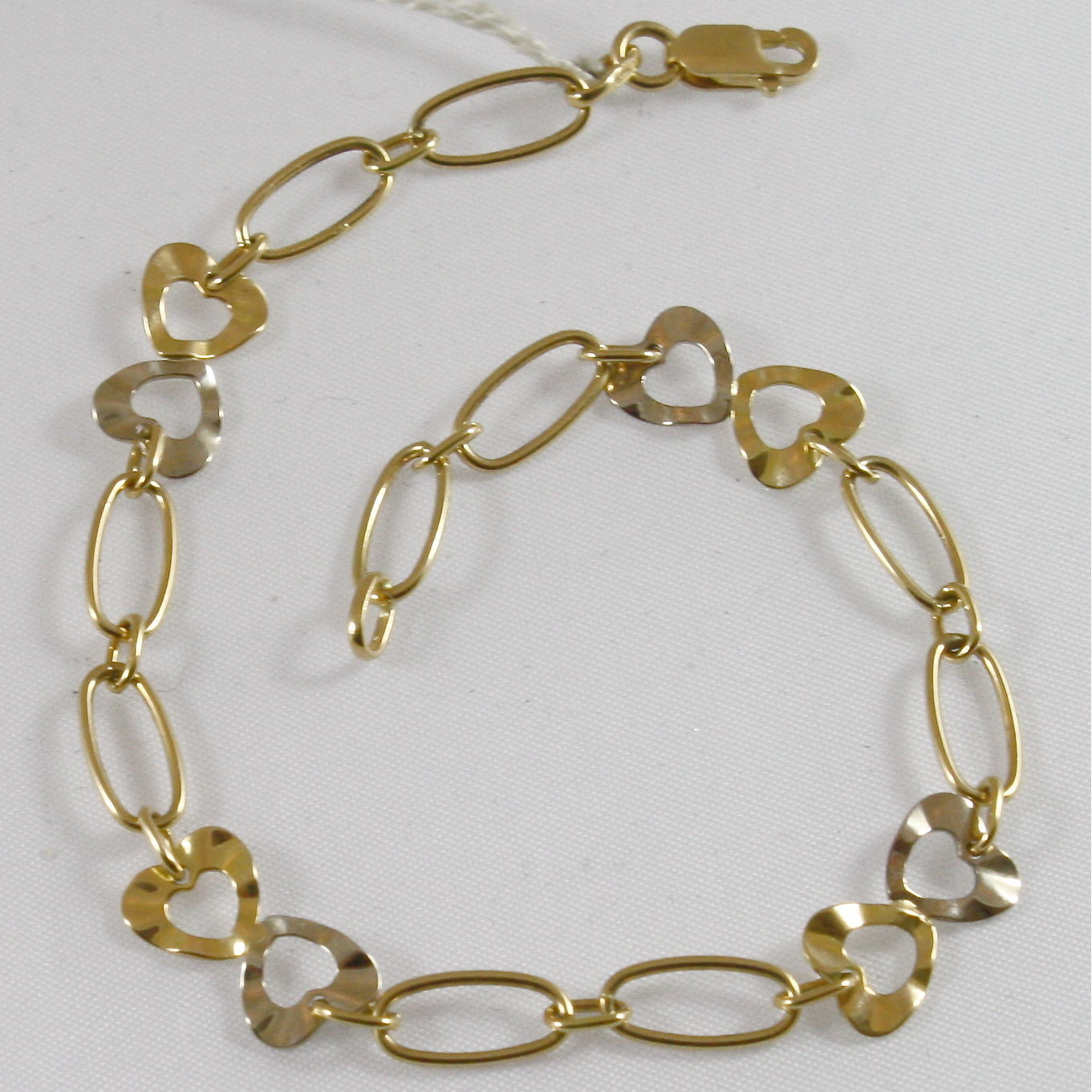 18K MULTITONE GOLD BRACELET, WHITE AND YELLOW GOLD, HEARTS, MADE IN ITALY