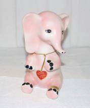 "VINTAGE MID-CENTURY MODERN PINK ELEPHANT FIGURINE 7.5"" GOLD HEART TAG PR... - $70.13"