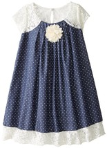 Bonnie Jean Little Girls 2T-6X Blue Pin Dot Chambray and Lace Trapeze Dress