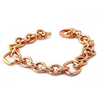 7.5 Inches 925 Silver Italian 14K Rose Gold Plated  Link Bracelet W/ Dia... - $149.78