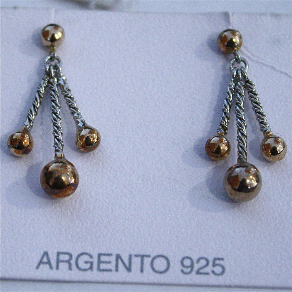 925 Silver Earrings Rhodium Plated Rose Gold with hanging balls